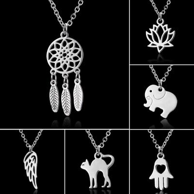 2019 Women Stainless Steel Animal Cat Elephant Pendant Necklace Charm Jewellery