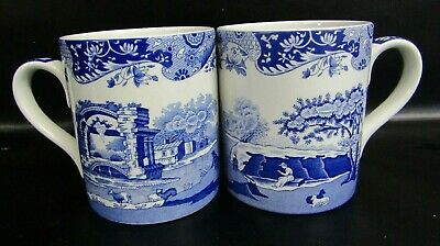 Two Spode Italian Blue One Pint Large Breakfast Mugs - Very Good Condition