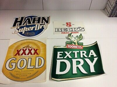 Various Large Beer Stickers - XXXX, Tooheys, Hahn, Becks