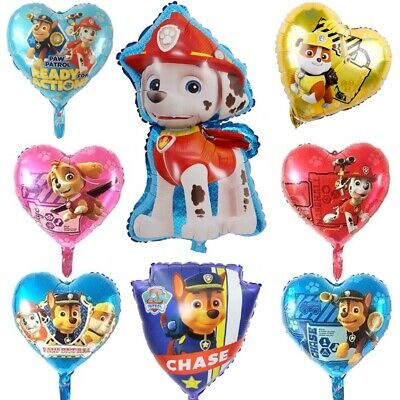 Paw Patrol Chase Skye Balloons Foil Heart Latex Star Birthday Party Decorations
