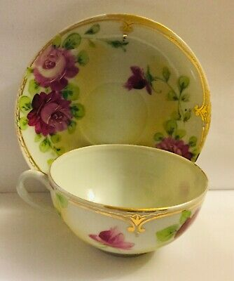 Antique Tea Cup And Saucer.1889-1918.  Hand Painted. 19Th