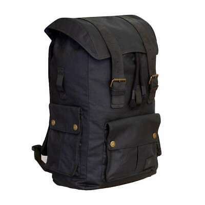 Merlin Ashby Waxed Cotton Rucksack - Black
