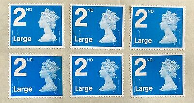 50 2Nd Second Class Large Stamps Unfranked Security Off Paper Full Gum F/V 41.50