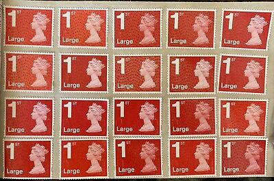 50 First 1St Class Large Stamps Unfranked Security Off Paper Full Gum F/V £53