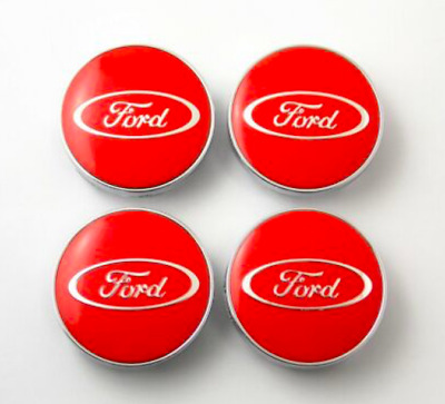 4 x 60mm Set Alloy Wheel Centre Caps Hubs Chrome Logo Red FORD