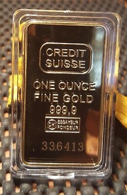 ONE Ounce Fine Gold Bar Credit Suisse 999.9 - 1 ONCIA BARS GOLD 24 KARAT sigilat