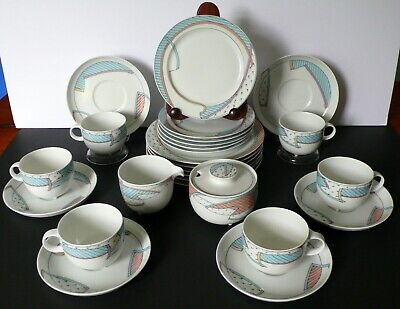 Set For 6 Rosenthal NEW WAVE Dorothy Hafner Cups & Saucers Dessert Salad Plates