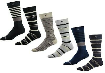 FJ FootJoy Men's ProDry Fashion Crew Striped Golf Socks