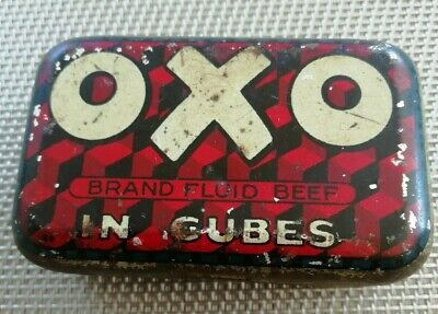 Vintage Small 6 Cube OXO Cubes Tin  Food Advertising. Hinges working. Old.