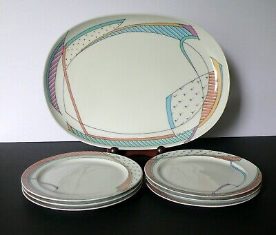 Set For 6 Rosenthal NEW WAVE Dorothy Hafner Dessert Salad Plates And Platter