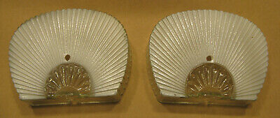 Antique Pair Clear & Frosted glass Art Deco wall sconce light shades