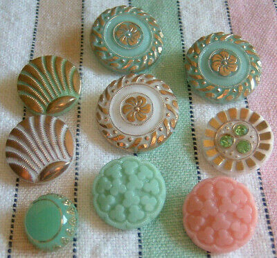 9 Vintage Glass Buttons Mint Green White Pink Jadeite Green & White Deco Shells