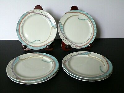 Set Of 6 German Rosenthal NEW WAVE Dorothy Hafner Porcelain Dessert Plates