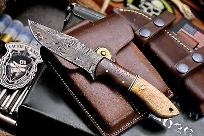 CFK Handmade Twist Damascus Custom Exotic Ziracote & London Plane Wood Knife