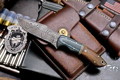 CFK Handmade Twist Damascus Custom Exotic Hawaiian KOA Wood Small Skinning Knife