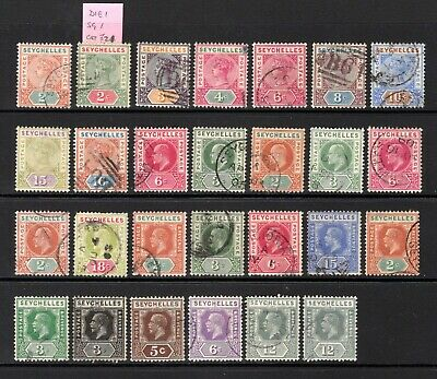 SEYCHELLES QV TO KGV GOOD TO FINE USED RANGE x 27 STAMPS CAT £78