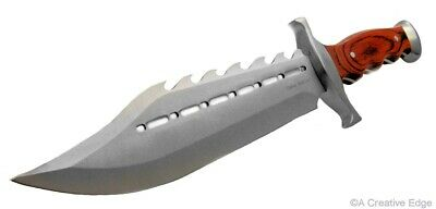 Big BadAss Huge Spiked Bowie Fighter Knife Full-Tang Fixed-Blade w/Sheath
