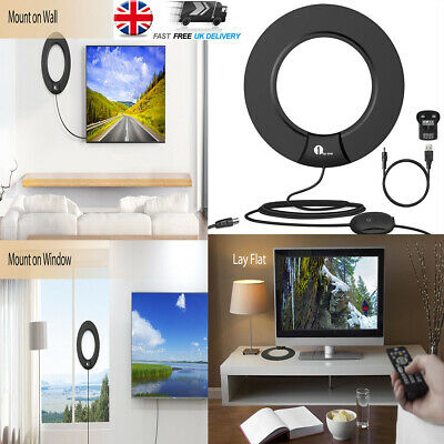 TV Ariels Antenna Indoor Digital Analog 4G Freeview Super Thin Portable Black