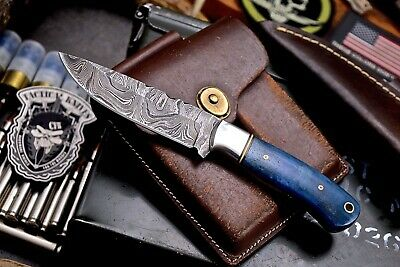 CFK Handmade Twist Damascus Custom Blue Camel Bone Small Skinning Blade Knife