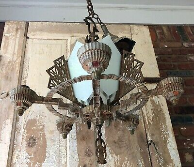 Vintage 5 Socket Art Deco Light Fixture Chandelier For Restoration or Parts