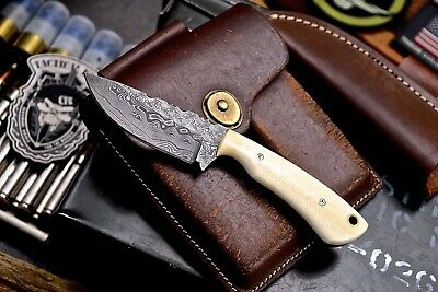 CFK Handmade Twist Damascus Custom Camel Bone Small Skinning Mini Hunting Knife