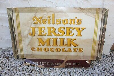 "Vintage ""Neilson's Jersey Milk Chocolate"" Cardboard Advertising Sign Store Ad"