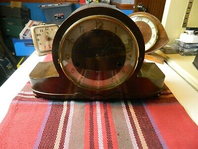 old wooden cased mantle clock converted to modern battery operated