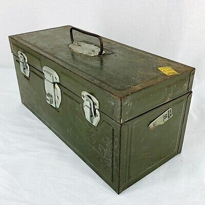 Vintage Union Metal Toolbox Utility Box Lockbox Green Made USA Greyhound Sticker