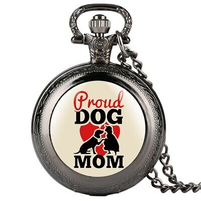 Classic Dog Mom Series Quartz Pocket Watch Classic Necklace Chain Pendant Watch