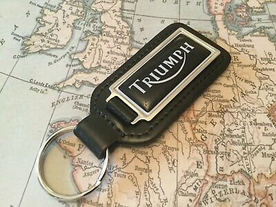 Triumph Spitfire MK2 Logo Quality Black Leather Keyring