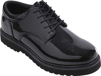 Mens Black Shiny Uniform Shoes Polished Oxford with Work Sole Formal Duty Lace