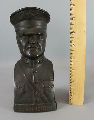Antique 1919 Cast Iron Bust WWI General Black Jack Pershing US ARMY Still Bank