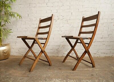 2 Antique Edwardian Campaign Steamer Military Naval Garden Style Folding Chairs