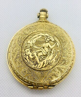 Vintage Pocket Watch Compact Nude Antiqued Gold Plated Ornate Etched Near Mint