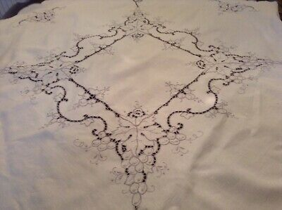 Stunning Vintage Hand Embroidery Grapes Leaves LinenTablecloth