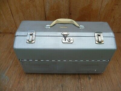 Vintage WARD'S Hawthorne Steel Cantilever Tackle Tool Box Chest Metal Fishing
