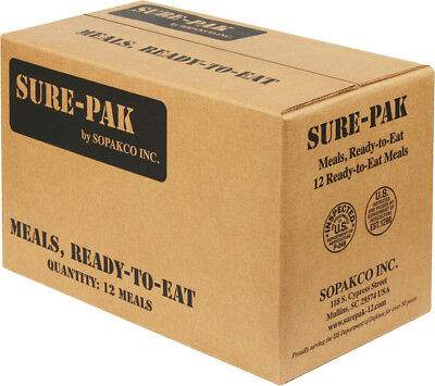 Sure Pak MRE Meals Ready-to-Eat Genuine GI US Military Complete Box - 12 Meals