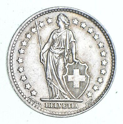 Roughly Size of Quarter 1947 - Switzerland - 1 Franc - World Silver Coin *481