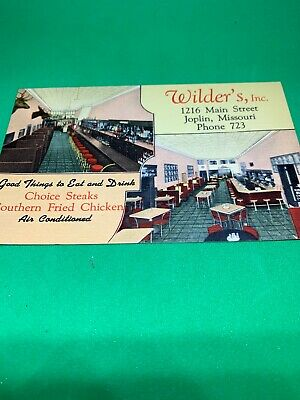 1940s Advertising Postcard Wilders Restaurant Joplin Missouri Tornado Route 66
