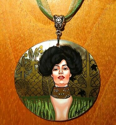 Pendant KLIMT JUDITH Russian Hand Painted Black Lip Shell UNIQUE signed GIFT