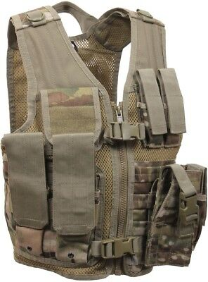 Kids MultiCam Tactical Vest, Military Army MOLLE Cross Draw Camo OCP Scorpion
