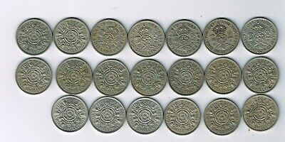 All 20 different CuNi florin two shilling coins 1947 - 1967