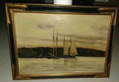 antique 19th paddle wheel steamboat & sailboats seascape painting mystery artist