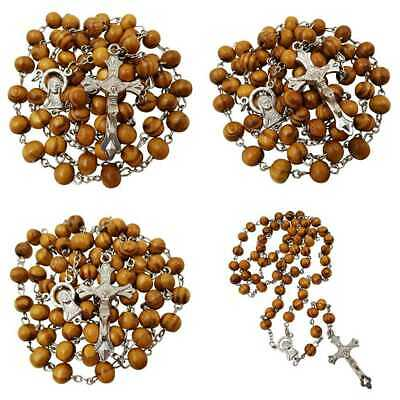 Blessed Catholic Rosary Necklace 8MM Wood Beads Jerusalem Cross Crucifix BROWN