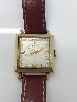 Vintage SETH THOMAS 10k Gold Filled Wrist Watch Red Second Hand