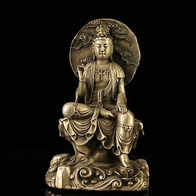 "7"" Chinese old Antique bronze handmade silvering gilt gold guanyin statue"