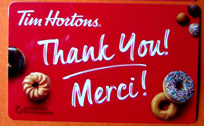 2x 2018 Tim Hortons Thank You Merci Gift Card No Value Two Cards Donuts New