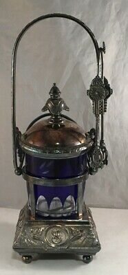 Antique Victorian Aesthetic Movement Silverplate Plated Pickle Castor Cut Glass