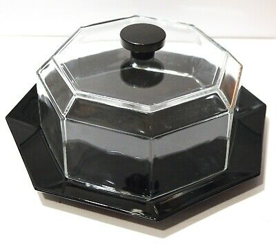 Arcoroc Octime Octagonal Black 12 inch Cake Plate and Clear Glass Dome Lid