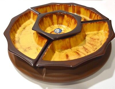 Blue Mountain Pottery Sectional Serving Dish and Lazy Susan - Gold Brown MCM